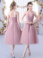 On Sale Appliques and Belt Court Dresses for Sweet 16 Pink Lace Up Sleeveless Tea Length