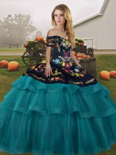 Beauteous Teal Sleeveless Brush Train Embroidery and Ruffled Layers Ball Gown Prom Dress