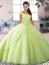 Fantastic Yellow Green Off The Shoulder Lace Up Beading Quinceanera Dress Brush Train Sleeveless