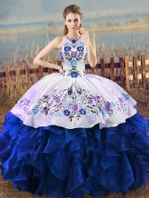 Beautiful Sleeveless Organza Floor Length Lace Up Quinceanera Gowns in Blue And White with Embroidery and Ruffles