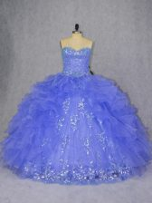 Elegant Sleeveless Lace Up Floor Length Appliques and Ruffles 15 Quinceanera Dress
