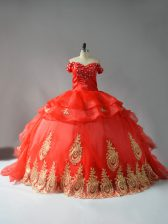 Sleeveless Court Train Lace Up Appliques and Hand Made Flower Sweet 16 Quinceanera Dress