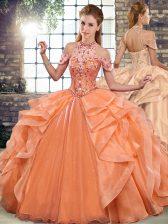 Super Halter Top Sleeveless Lace Up Sweet 16 Quinceanera Dress Orange Organza