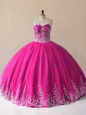 Nice Floor Length Fuchsia Quince Ball Gowns Sweetheart Sleeveless Lace Up