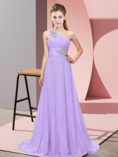 Lavender Sleeveless Floor Length Beading Lace Up