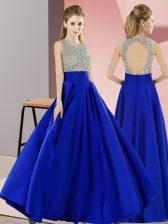 Royal Blue Sleeveless Beading Floor Length Prom Gown