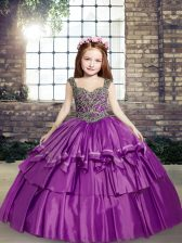 Purple Ball Gowns Taffeta Straps Sleeveless Beading Floor Length Lace Up Pageant Gowns For Girls