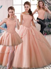Beauteous Brush Train Three Pieces Sweet 16 Dresses Peach Off The Shoulder Tulle Sleeveless Lace Up