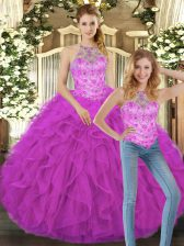 Gorgeous Fuchsia Halter Top Lace Up Beading and Ruffles Quinceanera Gowns Sleeveless