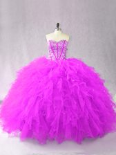 Sweetheart Sleeveless Quinceanera Dress Floor Length Beading and Ruffles Purple Tulle
