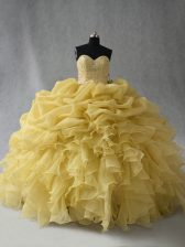 Customized Floor Length Yellow Sweet 16 Dress Sweetheart Sleeveless Lace Up