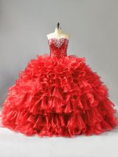 Red Ball Gowns Organza Sweetheart Sleeveless Beading and Ruffles and Sequins Floor Length Lace Up Quinceanera Gown