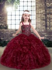 New Style Straps Sleeveless Organza Kids Formal Wear Beading and Ruffles Lace Up