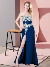 Latest Sleeveless Floor Length Lace and Appliques Zipper with Navy Blue