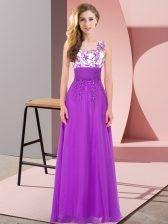 Free and Easy Purple Backless Scoop Appliques Vestidos de Damas Chiffon Sleeveless
