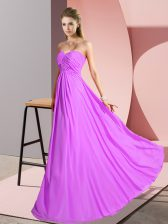 Dramatic Floor Length Empire Sleeveless Lilac Prom Dresses Lace Up