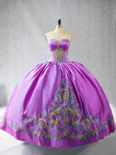 Glittering Satin Sweetheart Sleeveless Lace Up Embroidery Quinceanera Gowns in Lilac