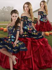 Red And Black Sleeveless Embroidery and Ruffles Floor Length Quinceanera Dress