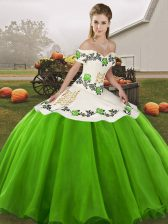 Fashionable Sleeveless Organza Floor Length Lace Up Quince Ball Gowns in Green with Embroidery