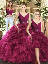 Graceful Organza Sleeveless Floor Length Sweet 16 Dresses and Ruffles and Pick Ups
