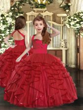 Red Sleeveless Floor Length Ruffles Lace Up Pageant Dress Wholesale