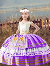 New Style Sleeveless Lace Up Floor Length Embroidery Little Girls Pageant Dress Wholesale