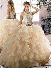 Scoop Sleeveless Sweet 16 Dress Floor Length Ruffles Champagne Tulle
