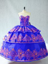 Custom Designed Blue Sweetheart Neckline Embroidery and Ruffles Quince Ball Gowns Sleeveless Lace Up