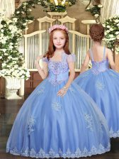 Best Baby Blue Sleeveless Floor Length Appliques Lace Up Little Girl Pageant Dress