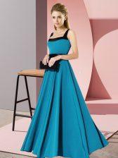 Artistic Teal Square Zipper Belt Court Dresses for Sweet 16 Sleeveless