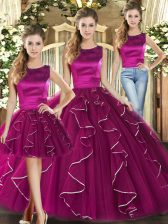 Fuchsia Tulle Lace Up Sweet 16 Quinceanera Dress Sleeveless Floor Length Ruffles