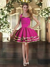 Stylish Fuchsia Ball Gowns Ruffled Layers Prom Party Dress Lace Up Tulle Sleeveless Mini Length