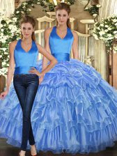 Baby Blue Ball Gowns Halter Top Sleeveless Organza Floor Length Lace Up Ruffles and Pick Ups Quince Ball Gowns