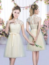 Free and Easy Champagne Tulle Lace Up Court Dresses for Sweet 16 Cap Sleeves Mini Length Lace and Bowknot