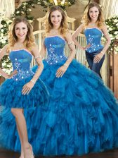 Custom Made Sleeveless Tulle Floor Length Lace Up 15th Birthday Dress in Blue with Beading and Ruffles
