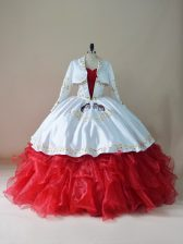 Edgy White And Red Lace Up Quince Ball Gowns Embroidery and Ruffles Sleeveless Floor Length