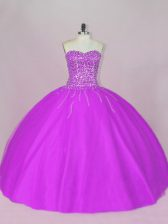 Fantastic Tulle Sweetheart Sleeveless Lace Up Beading Sweet 16 Dresses in Purple