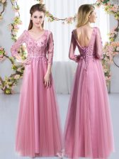 V-neck 3 4 Length Sleeve Quinceanera Court Dresses Floor Length Lace and Appliques Pink Tulle