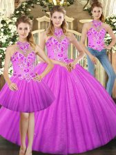 Sweet Lilac Three Pieces Tulle Halter Top Sleeveless Embroidery Floor Length Lace Up Sweet 16 Dress