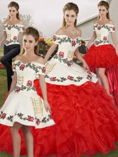 Discount Ball Gowns Quinceanera Gown White And Red Off The Shoulder Organza Sleeveless Floor Length Lace Up