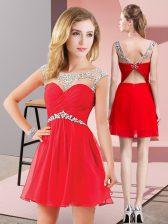 Great Scoop Sleeveless Homecoming Dress Mini Length Beading Red Chiffon