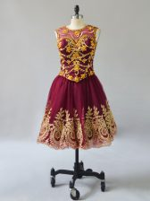 Burgundy Sleeveless Beading and Appliques Mini Length Prom Gown