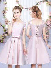 Sweet Baby Pink A-line Satin Off The Shoulder Sleeveless Bowknot Mini Length Lace Up Quinceanera Court Dresses