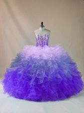 Sleeveless Floor Length Beading and Ruffles Lace Up Quince Ball Gowns with Multi-color