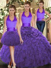 Spectacular Purple Sleeveless Floor Length Ruffles Lace Up 15th Birthday Dress