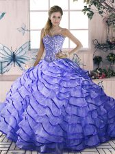 Colorful Lavender Lace Up Sweetheart Beading and Ruffled Layers 15th Birthday Dress Organza Sleeveless Brush Train
