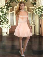 Fitting Peach Halter Top Backless Beading Evening Dress Sleeveless