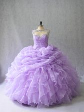 Traditional Scoop Sleeveless Brush Train Lace Up Sweet 16 Quinceanera Dress Lavender Organza