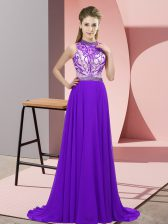 Sumptuous Purple Halter Top Backless Beading Dress for Prom Brush Train Sleeveless