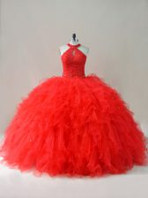 Amazing Red Sleeveless Tulle Lace Up Quinceanera Dresses for Sweet 16 and Quinceanera